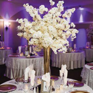 Ballroom Wedding Centerpiece Neon Purple and White