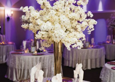 Ballroom Wedding Centerpiece Neon Purple and White