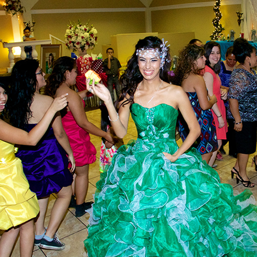 Quinceanera Location Bright Green Gown