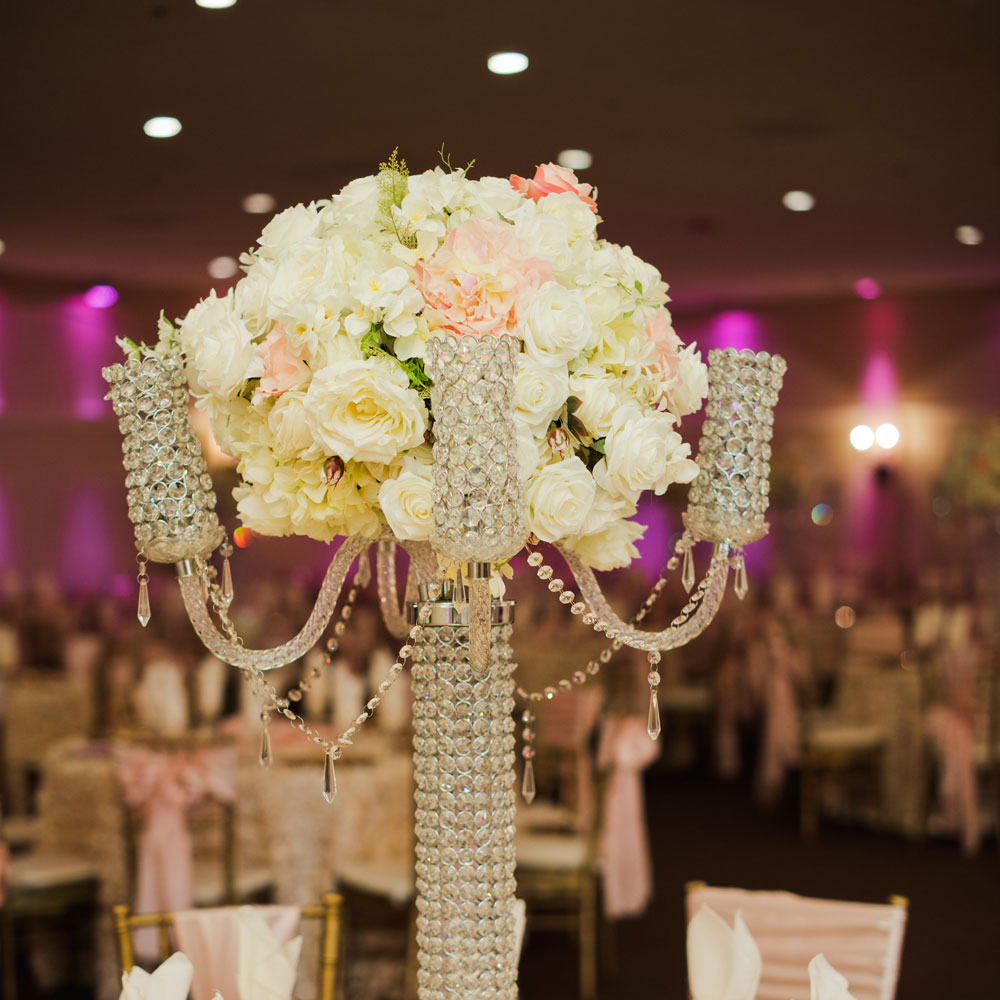 Wedding Ballroom Displays Sparkling Centerpiece