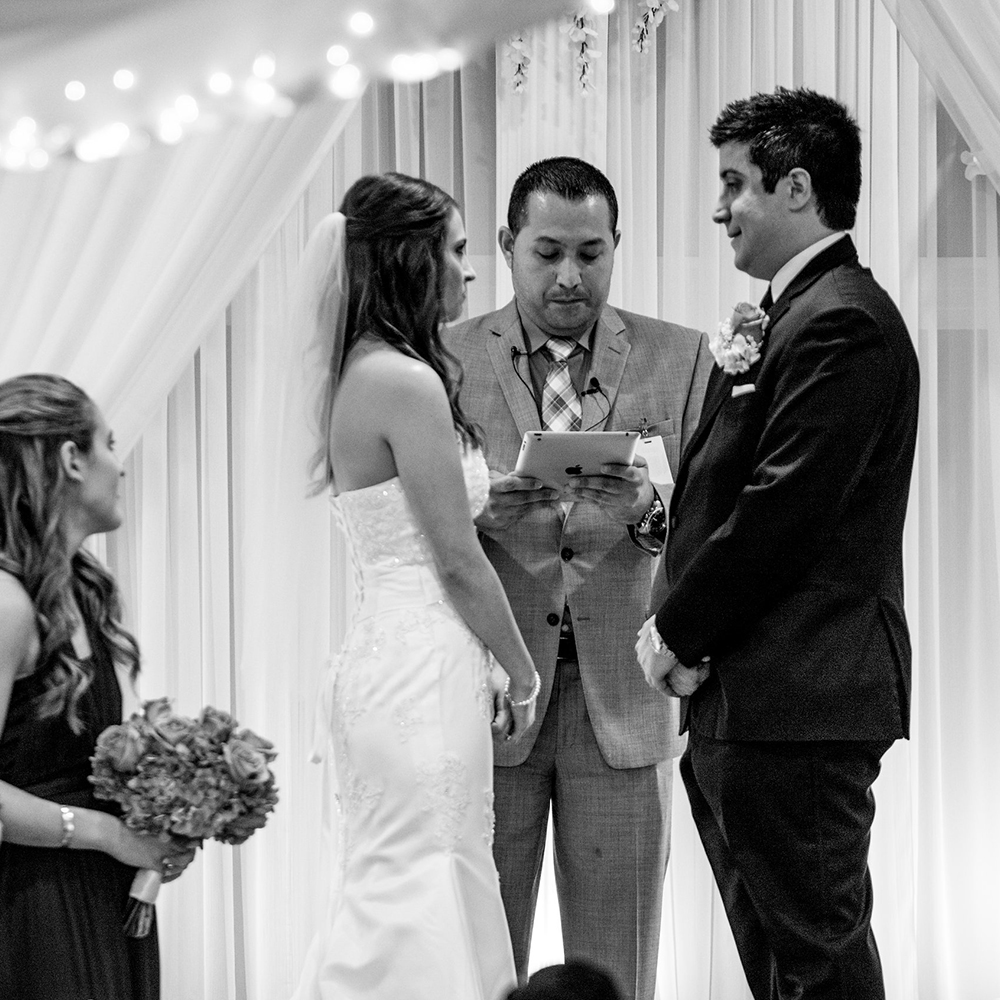 Indoor Wedding Ceremonies Black and White Couple