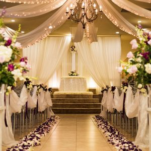 Wedding Reception Hall Colorful Aisle