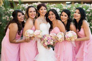 Outdoor Wedding Reception Sites Pink Bridesmaids and Bride