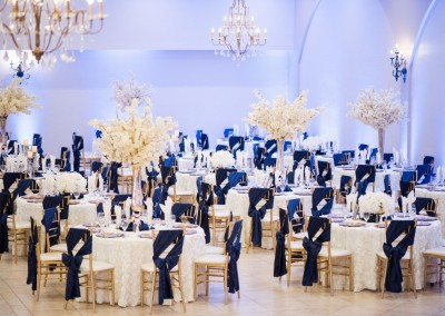 Villa Tuscana Reception Hall event showing Navy and white wedding reception decorations