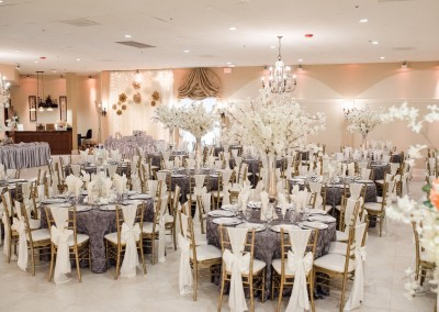 Villa Tuscana Reception Hall event showing lavender and white wedding decor for reception
