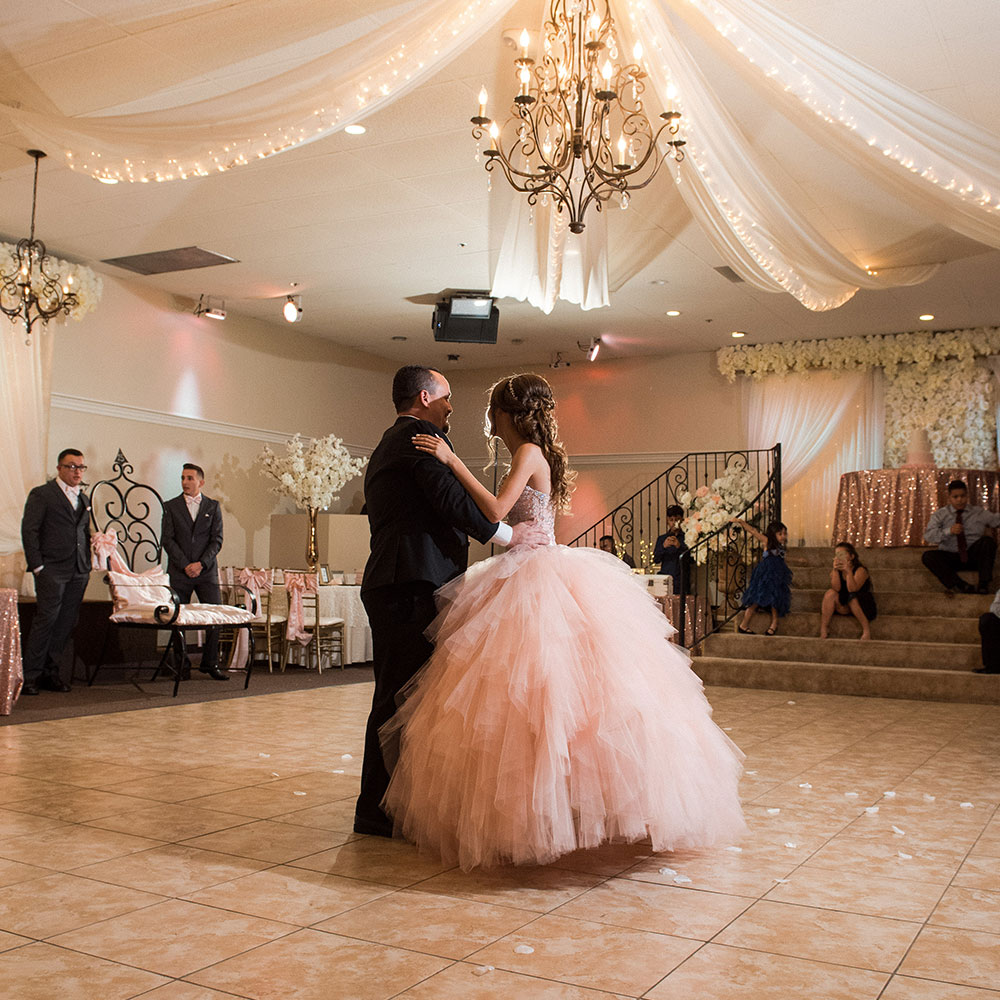 Villa Tuscana Reception Hall event showing Large Quinceanera reception dance with dad