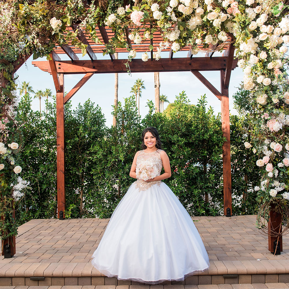 Villa Tuscana Reception Hall event showing quinceanera girl outside