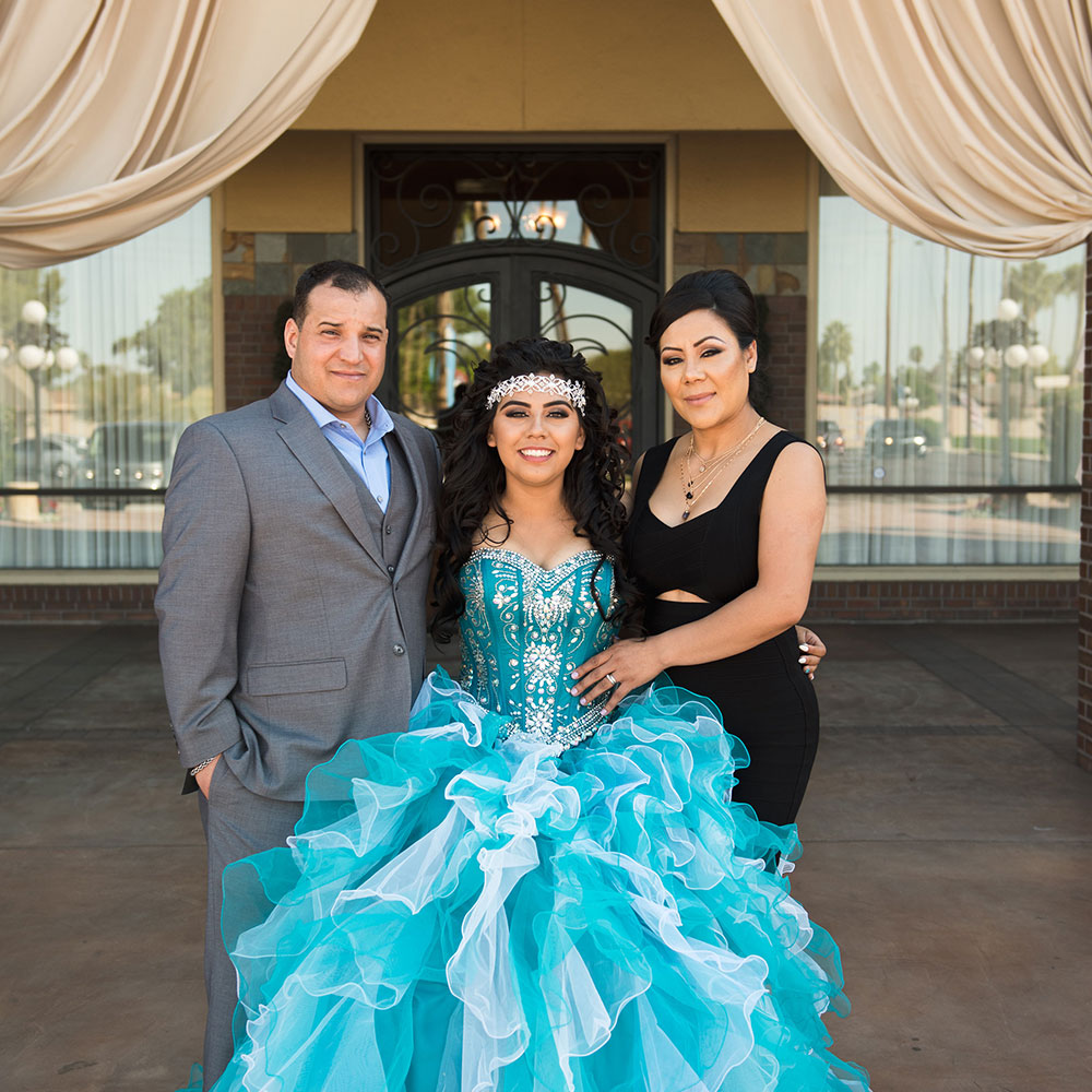 Villa Tuscana Reception Hall event showing quinceanera with daughter and parents