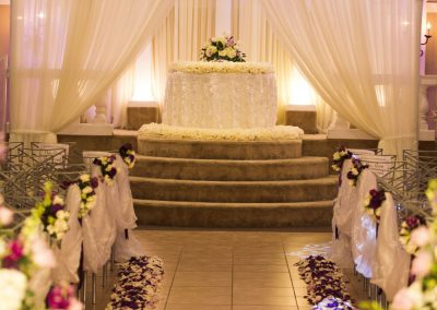 Villa Tuscana Reception Hall event showing ceremony space indoors