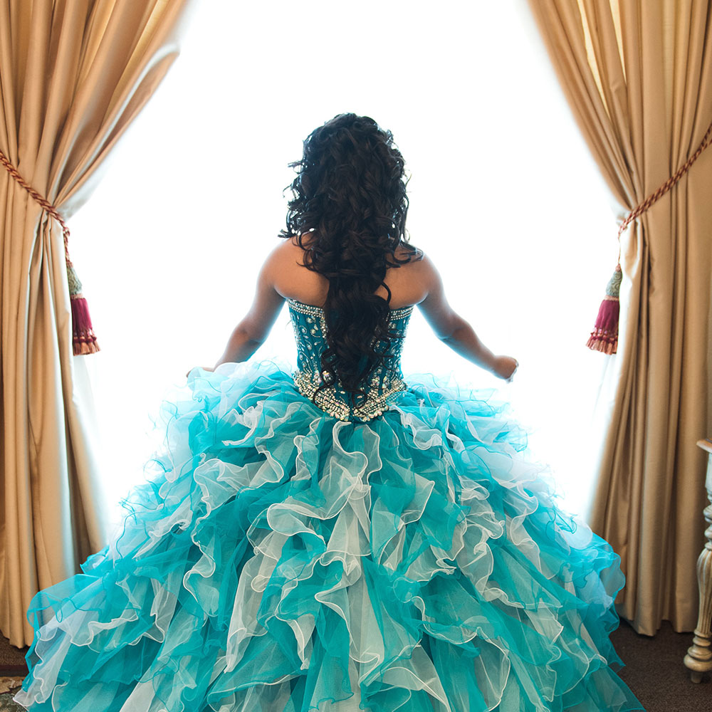 Villa Tuscana Reception Hall event showing quinceanera dress from behind
