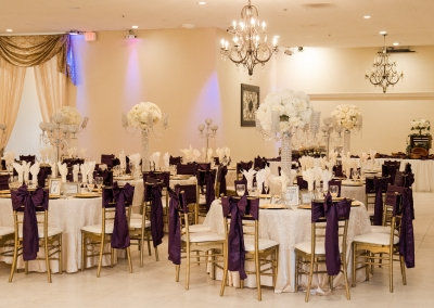 royal purple and white decorated ballroom