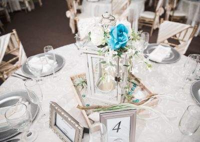 Wedding Ballroom Light Blue and White Centerpiece Display