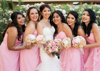 Outdoor Wedding Reception Sites Pink Bridesmaids and Bride