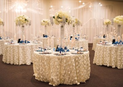Villa Tuscana Reception Hall event showing with reception hall with blue and white decor