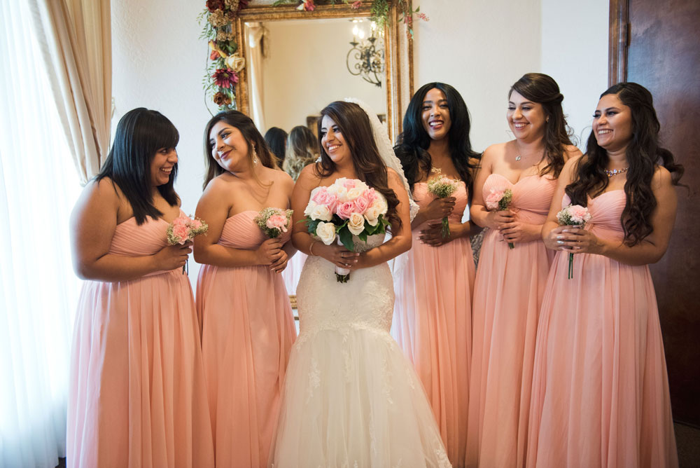 Villa Tuscana Reception Hall event showing bride and bridesmaids in bridal suite