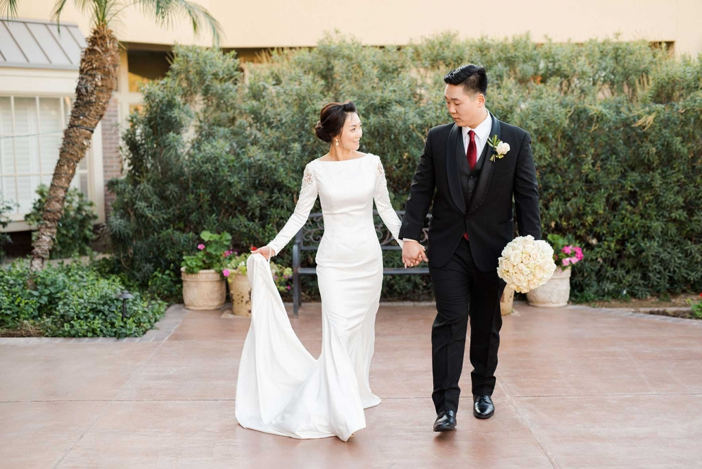 Villa Tuscana Reception Hall event showing couple after ceremony
