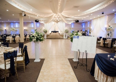 Villa Tuscana Reception Hall event showing white and blue reception hall