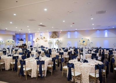 Villa Tuscana Reception Hall event showing blue and white reception hall decor