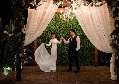 Villa Tuscana Reception Hall event showing bride and groom dancing outside