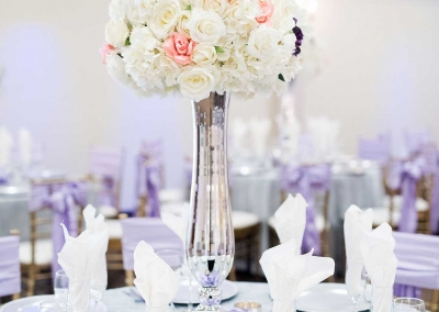 Villa Tuscana Reception Hall event showing white reception hall decor
