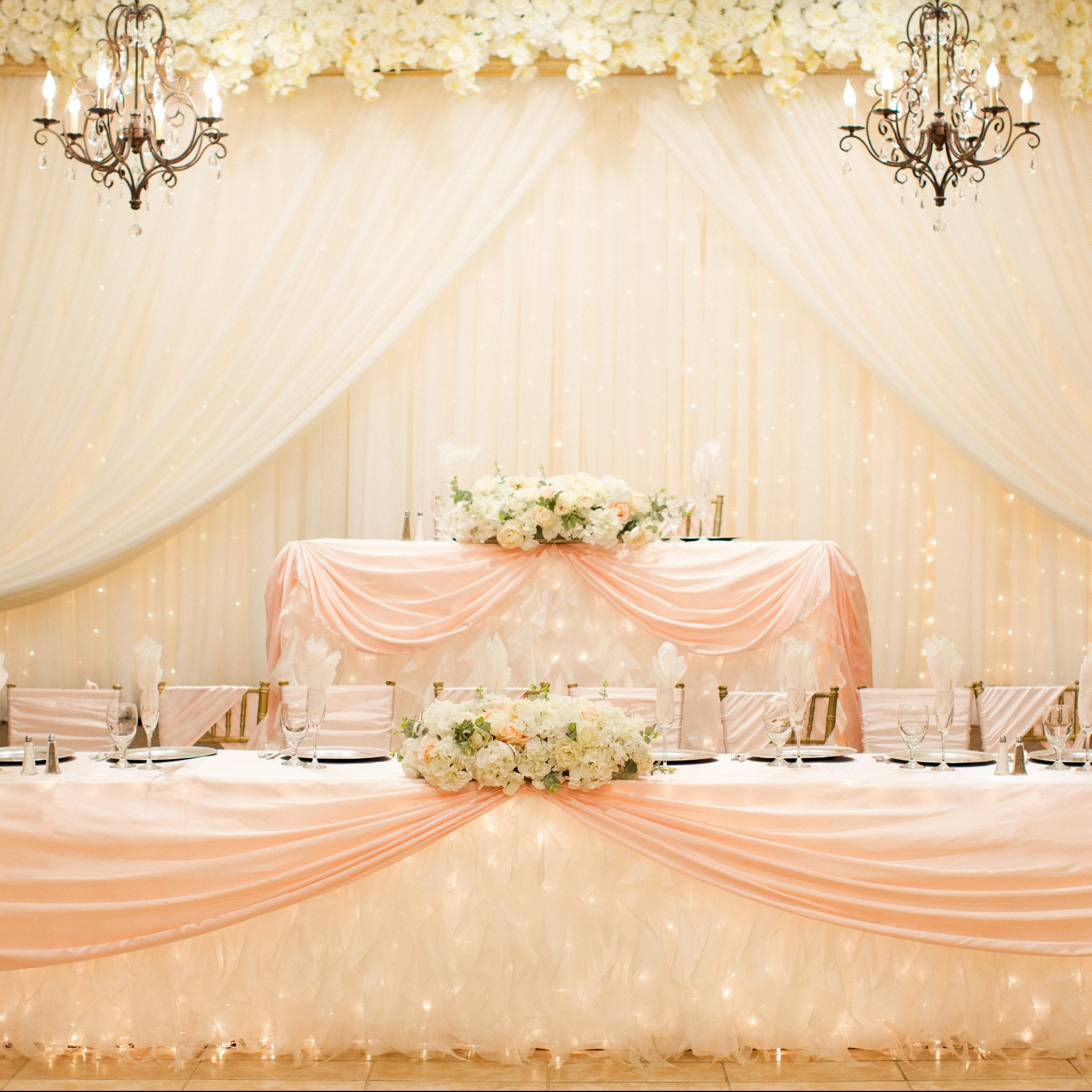 Villa Tuscana Reception Hall event showing bridal table in indoor reception