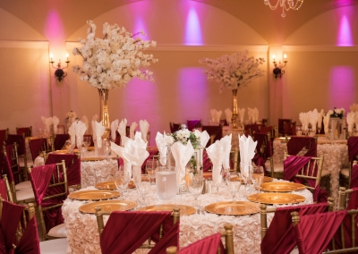 Villa Tuscana Reception Hall event showing red and white themes wedding reception decorations