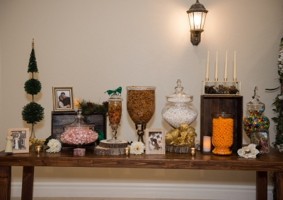 Alejandra & Nathan Rustic Winter Wedding Snack Table