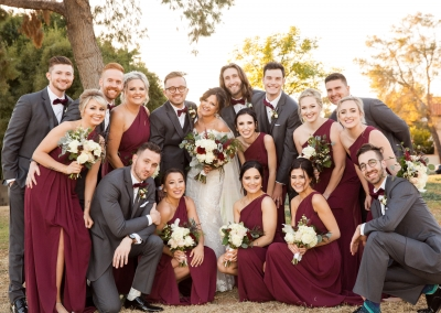 wedding party in burgundy and gray