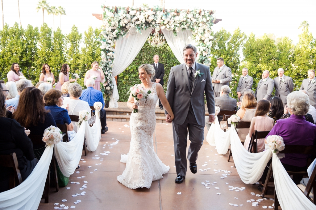 Villa Tuscana Reception Hall event showing kelly and robert just married