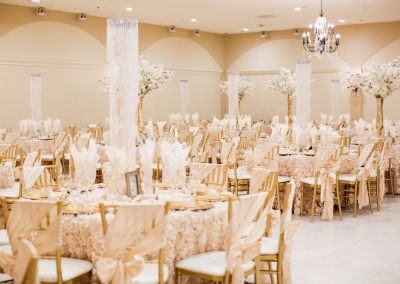 Villa Tuscana Reception Hall event showing all white wedding reception decorations