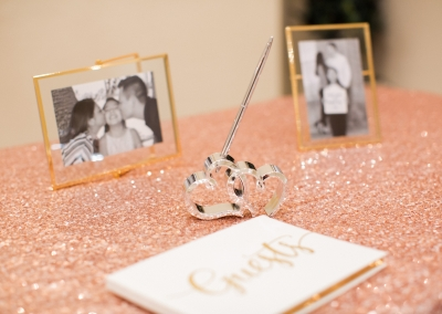 Villa Tuscana Reception Hall event showing a wedding guest sign in table