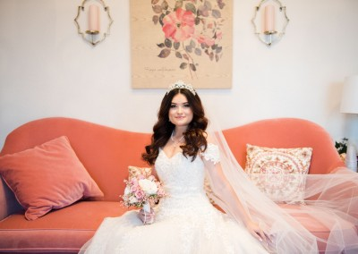 bride in suite before wedding