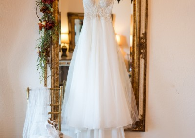 hanging wedding gown