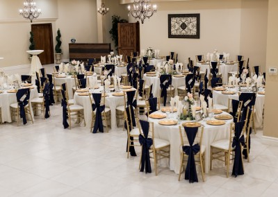 Villa Tuscana Reception Hall in mesa showing custom wedding reception decor for tables and ballroom