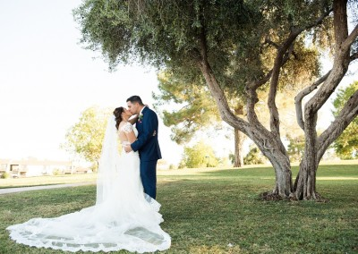 Villa Tuscana Reception Hall in mesa showing nearby park area with bride and groom under tree