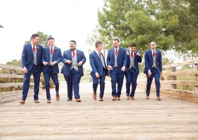 Villa Tuscana Reception Hall in mesa showing nearby park area with groomsmen on bridge