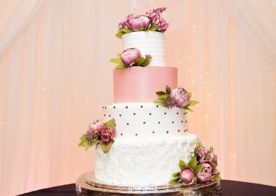 Villa Tuscana Reception Hall in mesa showing tied wedding cake in reception area